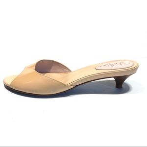 Cole Haan Tan Patent Leather Kitten Heel Slides